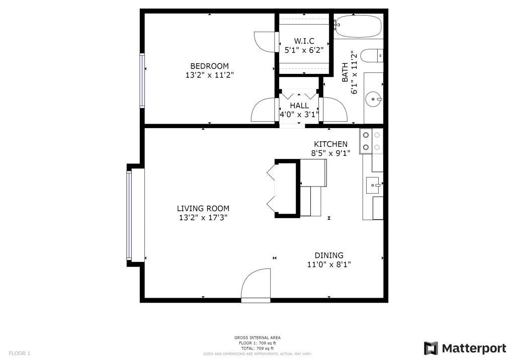 Botsford 1BR Floor PLan