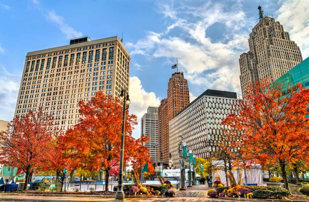 Historic buildings in Downtown Detroit, Michigan
