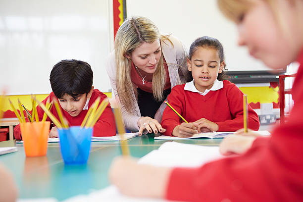 Female Teacher Helping Female Primary School Pupil With Writing Reading At Desk